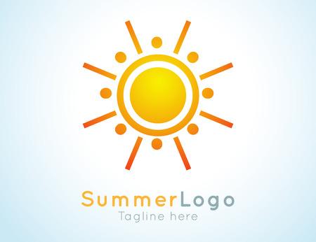 background summer: Vector summer label. Summer logo icon. Sunny design element. Background design for banner, poster, flyer, cover, brochure. Sunrise and sunset. Bright nature graphic.