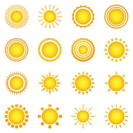 estrella caricatura: Conjunto de iconos de sol aislados sobre fondo blanco. Creativas s�mbolos luz del sol amarillo. Elementos para el dise�o de previsi�n meteorol�gica. Sistema solar. Salida y puesta del sol. elementos editables. gr�fico dise�o plano. Vector Vectores