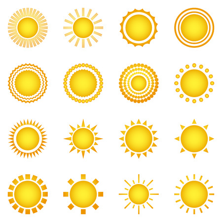 space cartoon: Set of sun icons isolated on white background. Creative yellow sunlight symbols. Elements for weather forecast design. Solar system. Sunrise And sunset. Editable items. Flat design graphic. Vector