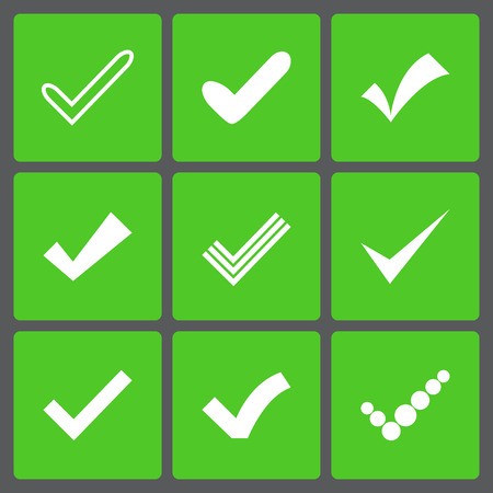 Set of different retro vector check marks or ticks. Confirmation acceptance positive passed voting agreement true or completion of tasks on a list. White and green colors. Illustration