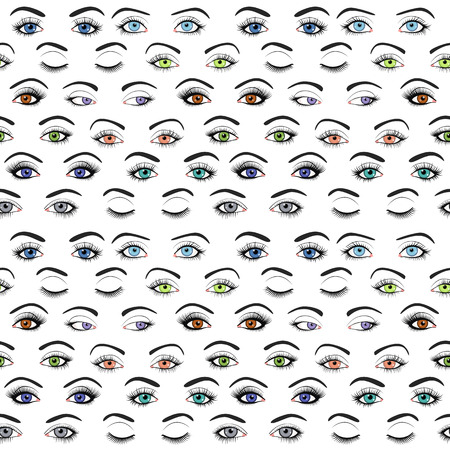 brows: Set of female eyes and brows seamless pattern. Vector illustration for health glamour design. Blue, green and brown colors. Close and open woman eyes.