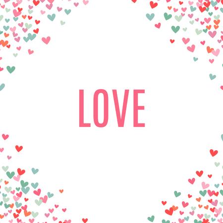 el fondo del corazón, azul, rosa y romántica. Ilustración del vector para el diseño de fiesta. Muchos esquina corazones del vuelo en el fondo blanco. Por invitación de boda, saludos del día de San Valentín, marco precioso.