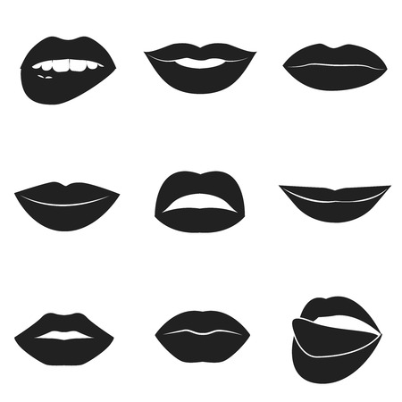 lips close up: Set of glamour black lips. Beautiful female lips collection. Sexy kisses. Romantic smiles. Passion mouths. Lips with teeth and tongue. Lipstick advertisement. Romantic aspect. Vector flat style icons.