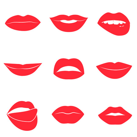 lips close up: Set of glamour red lips. Beautiful female lips collection. Sexy kisses. Romantic smiles. Passion mouths. Lips with teeth and tongue. Lipstick advertisement. Romantic aspect. Vector flat style icons. Illustration