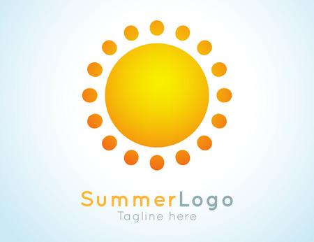 sunshine: Vector summer label. Summer logo icon. Sunny design element. Background design for banner, poster, flyer, cover, brochure. Sunrise and sunset. Bright nature graphic.