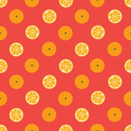 yummy: Cute seamless pattern with diagonal orange slices on red background. Tasty summer background. Yummy tropical fruits endless texture. For wallpaper, banner. Delicious healthy fruit. Vector illustration