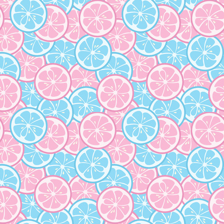 pastel backgrounds: Seamless pattern with pink and blue citrus. Lime and grapefruit. Tasty summer background. Yummy tropical fruits endless texture. Can be used for wallpaper, banner, poster. Vector illustration