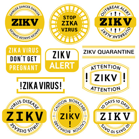 dangers: Yellow, black and white Zika Virus stamps. Vector illustration for warning message. Information sign with ZIKV.  Do not Get Pregnant. Illustration