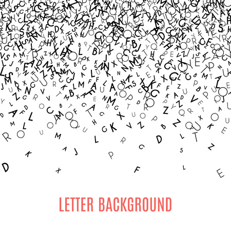 Abstract black alfabeto ornamento confine isolato su sfondo bianco. illustrazione vettoriale per l'istruzione, la scrittura, design poetico. lettere casuali cadono dall'alto. concetto di libro Alfabeto per la scuola di grammatica.