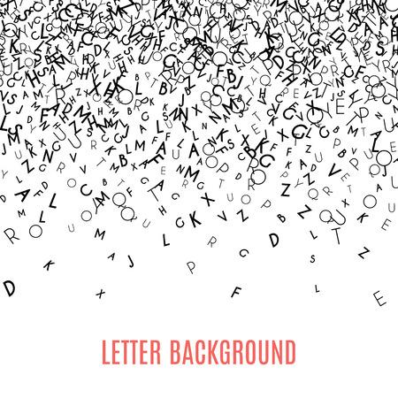 Abstrakte schwarze Alphabet Ornament Grenze, die isoliert auf weißem Hintergrund. Vektor-Illustration für Bildung, Schreiben, poetisch-Design. Zufällige Buchstaben fallen von oben. Alphabet Buchkonzept für das Gymnasium.