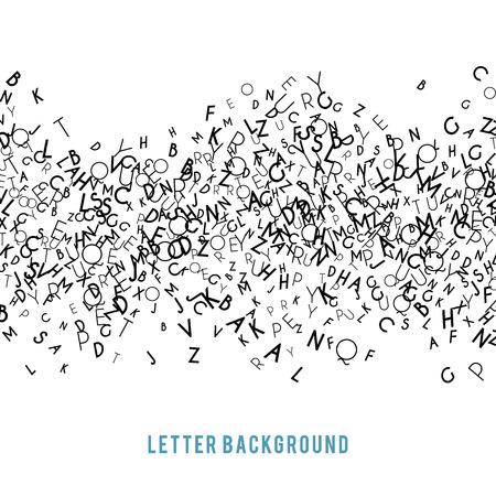 白い背景に分離された抽象的な黒いアルファベットの飾り罫線ベクトル イラスト デザインを書く教育。真ん中にランダムな文字フライのストライプ