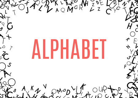 Abstract black alphabet ornament frame isolated on white background. Vector illustration for education writing design. Random letters flying around. Alphabet book concept for grammar school