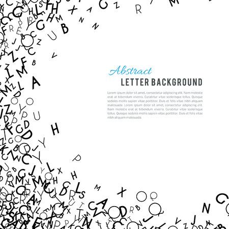 Alfabeto abstracto negro del ornamento del marco aislado en el fondo blanco. Ilustración del vector para el diseño de estudios de educación. letras al azar que vuelan alrededor. concepto de libro del alfabeto para la escuela primaria Ilustración de vector