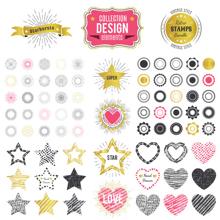 starburst: Collection of premium design elements. Vector illustration for chic vintage insignia. Retro logos constructor. Set of starbursts, stamps, frames, heart and star shapes. Black, golden and pink colors.