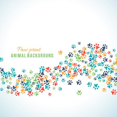 白い背景に分離されたカラフルな動物のフット プリントの飾り罫線動物デザインのベクトル図です。ランダムな足は、境界線を印刷します。多くの