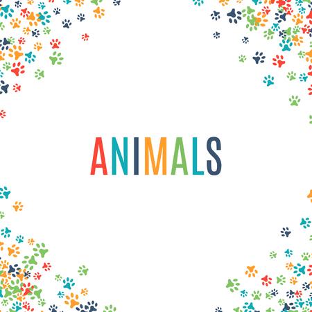 白い背景に分離されたカラフルな動物のフット プリントの飾り罫線動物デザインのベクトル図です。ランダム ・ フット プリント コーナーです。多