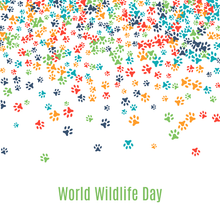 Colorful animal footprint ornament border isolated on white background. Vector illustration for animal design. Random foot prints on top. Many bright trail. Frame of cute paw trace. World wildlife day