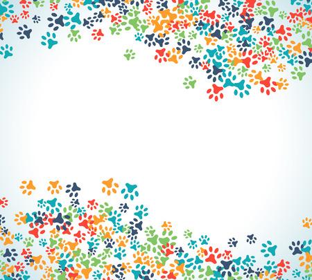 Frontière d'ornement empreinte animale colorée isolé sur fond blanc. Illustration vectorielle pour la conception animale. Pied aléatoire imprime la bordure. Beaucoup de sentiers lumineux. Cadre de trace de patte mignonne. Journée mondiale de la faune