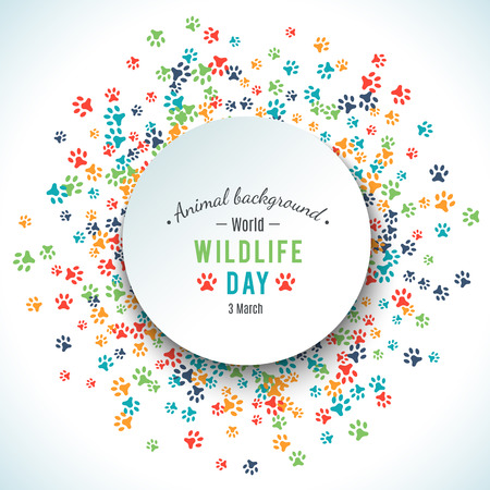 Colorful animal footprint ornament border isolated on white background. Vector illustration for animal design. Random foot prints round. Many bright trail. Frame of cute paw trace. World wildlife day Ilustracja