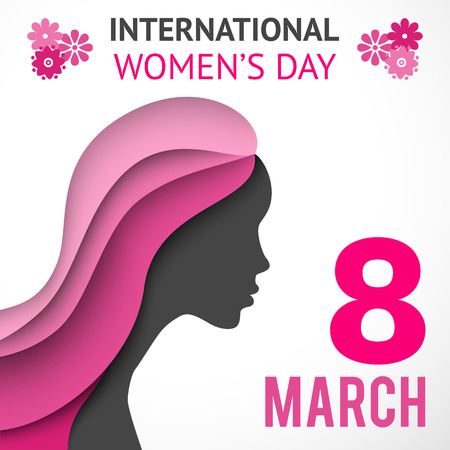 Happy Women's Day greeting or gift card on white background with women's silhouette cut out paper. Vector illustration for attractive beautiful holiday design. Colorful applique to 8 March. Pink color