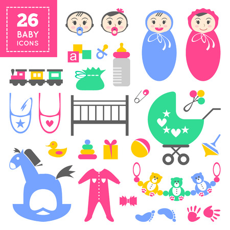 Colorful cute baby icon set. Cool cartoon vector items for little toddler girl or boy. Baby shower day invitation card design. Childish things: bed, bug, clothes, footprint, tracing of hand, rattle