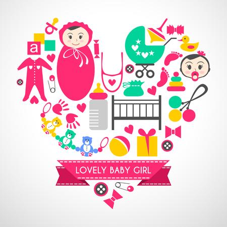 nacimiento bebe: iconos conjunto de vectores niña recién nacida. artículos de dibujos animados lindo para la niña. Elementos para el día de la ducha del bebé. diseño de tarjeta en forma de corazón. las cosas de niño cama, con errores, la ropa, la huella, la localización de las manos Vectores