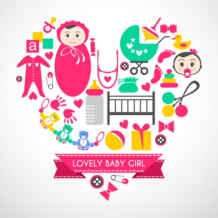 mammal baby: Newborn baby girl vector icons set. Cute cartoon items for little girl. Elements for baby shower day. Card design in form of heart. Childish things bed, buggy, clothes,  footprint, tracing of hand