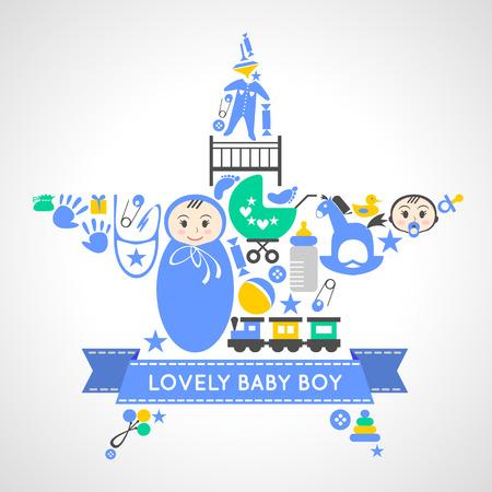 silueta humana: Colecci�n de los iconos del beb� muchacho conjunto de vectores en forma de una estrella. Tarjeta del ni�o reci�n nacido. beb� ducha muchacho conjunto de elementos de dise�o. Conjunto de tarjetas del beb�. Puede ser utilizado para el papel pintado, patrones de relleno, p�gina Web