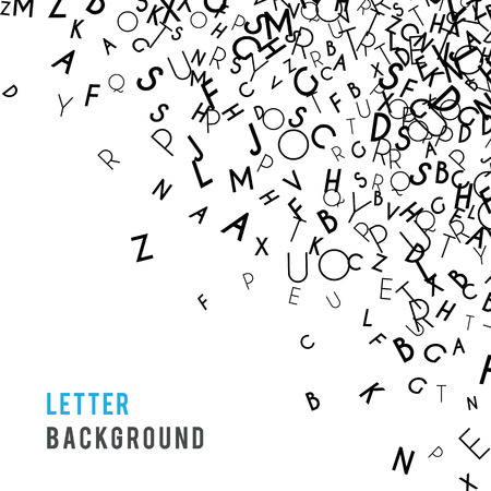 Letters abstract background composition. International Day of the Book or World Book Days. Promotion of reading, publishing and copyright. Poster or banner design. Copyright concept. Vector