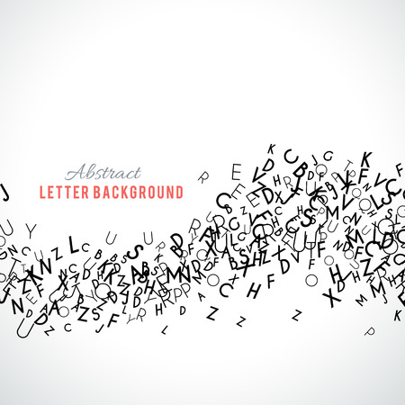 write a letter: Abstract black alphabet ornament border isolated on white background. Vector illustration for education writing design. Stripe of random letters fly in middle. Alphabet book concept for grammar school