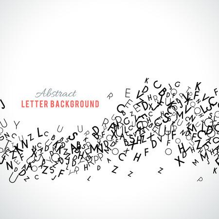 libros volando: Resumen negro frontera alfabeto ornamento aislado en el fondo blanco. Ilustraci�n del vector para el dise�o de estudios de educaci�n. Raya de letras al azar volar en medio. concepto de libro del alfabeto para la escuela primaria Vectores