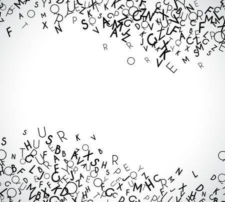 Abstracte zwarte alfabet ornament grens geïsoleerd op een witte achtergrond. Vector illustratie voor het onderwijs het schrijven van het ontwerp. Streep van willekeurige letters vliegen in het midden. Alfabet boek concept voor gymnasium Vector Illustratie