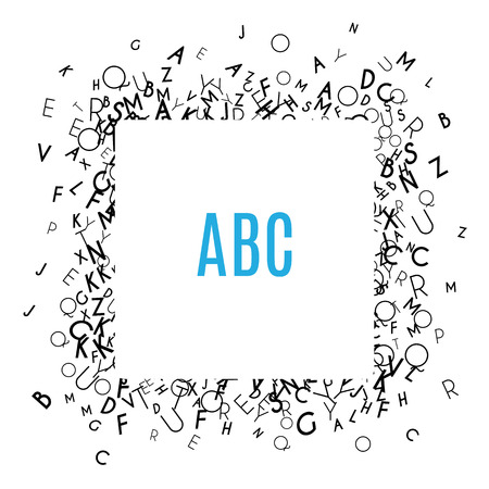 literacy: Alphabet Frame isolated on white background. Copy space for education, literacy, back to school announcements, posters,  stationery, scrapbooks, albums. Mix of letters. Latin ABC. Literacy. Vector