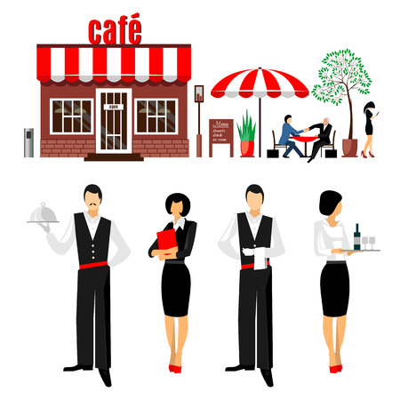 serve: Flat young stylish male and female waiters. Sommelier. Cafe restaurant servant concept vector illustration icon set. People  with cafe on the white background. Vector Illustration