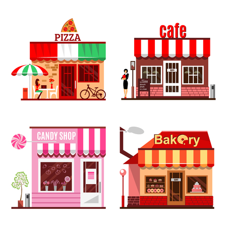 casita de dulces: sistema fresco de edificios detalladas diseño plano de la ciudad públicas. Restaurantes y tiendas fachada iconos. Pizza, tienda de dulces, panadería, café, café. Ilustración del vector para el diseño de dibujos animados lindo de la comida.