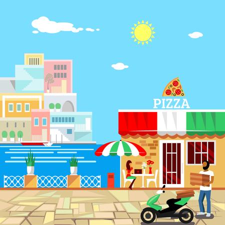 Pizza restaurant met een terras aan de voorzijde. Man levert pizza. Rustige plek in het centrum van de stad. De vrouw eet pizza aan de tafel. Pizzeria gebouw. Zomer gevel. Middag. Warm weer. vector illustratie Vector Illustratie