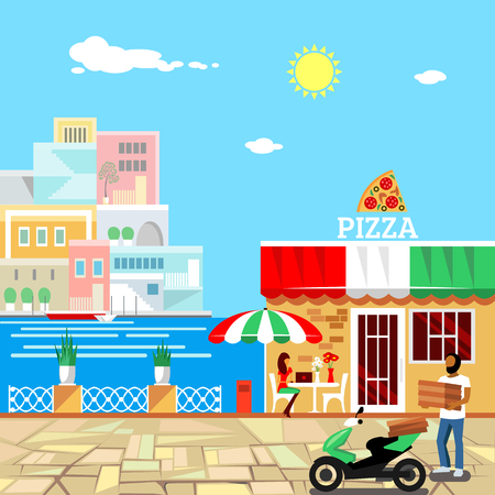 Pizza restaurant with terrace in front. Man delivers pizza. Calm place in city center. Woman eats pizza at the table. Pizzeria building . Summer facade. Midday. Hot weather. Vector illustration