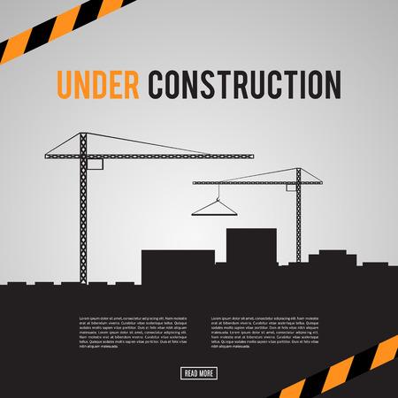 Edificio en construcción del sitio. infografía construcción. Area Industrial. El desarrollo de una ciudad moderna. Añada su texto. El concepto de ingeniería. De ninguna manera. Peligro. ilustración vectorial de diseño de plantilla