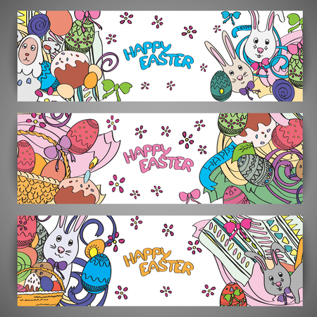 easter flowers: Set of creative colorful banners for Happy Easter. Cute Easter symbols in every poster. Bunnies, eggs, cakes drawn in stylish cartoon style. Greeting card design with congratulations. Vector