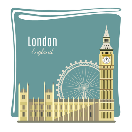 london england: London landmark detailed illustration for card. Big Ben, London Eye, Westminster Abbey. Architecture of England. Places of interest in London. Great Britain capital panorama. Flat style design. Vector