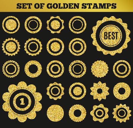 riches: Set of golden grunge stamp. Round shapes. Vector illustration for premium design. Yellow and black colors. Collection gold frame for luxury style. Vip border for rich card. Illustration