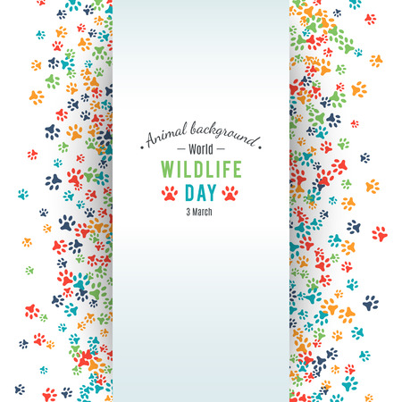 animal fauna: Wildlife day poster.  Abstract banner promotion of world wild life day. Ecology and environment protection concept. Dog or cat pet footprints. Animal background.  Footstep. Vector illustration