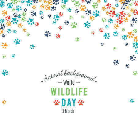 footstep: Wildlife day poster.  Abstract banner promotion of world wild life day. Ecology and environment protection concept. Dog or cat pet footprints. Animal background.  Footstep. Vector illustration