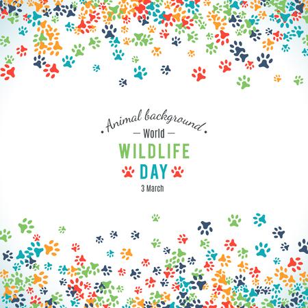 huella pie: Ilustración del vector del día de la fauna del mundo. Animal de fondo. 3 de marzo el día de la aprobación de la Convención sobre el comercio internacional de especies amenazadas de fauna y flora silvestres. Vector