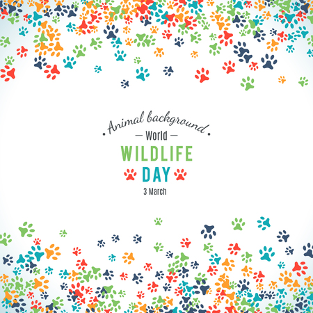 animal foot: Vector illustration of world wildlife day. Animal background. 3 March, the day of the adoption of the Convention on International Trade in Endangered Species of Wild Fauna and Flora. Vector Illustration