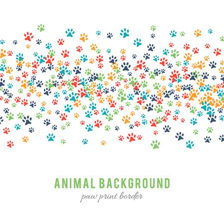 Bunte Hund Pfote druckt Hintergrund auf weißem Hintergrund. Paw print Grenze Design. Animalistic Stil. Footprint-Icons. Bunte Haustier Schritte. Abstrakte Tiergraphik. Vektor-Illustration