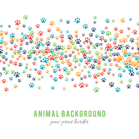 animalistic: Colorful dog paw prints background isolated on white background. Paw print border design. Animalistic style. Footprint icons. Colorful pet steps. Abstract animal graphic. Vector illustration Illustration