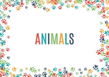 다채로운 동물 발자국 장식 테두리 흰색 배경에 고립입니다. 동물 디자인을위한 벡터 일러스트 레이 션. 임의 발 인쇄 가로 프레임. 많은 밝은 흔적. 귀