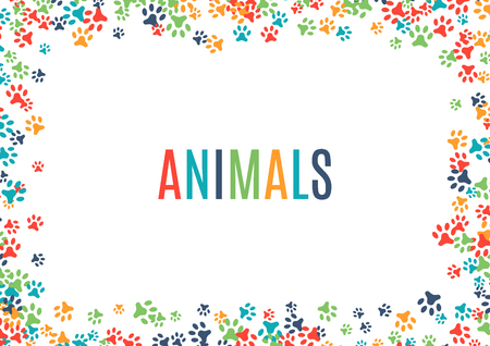 Colorful animal footprint ornament border isolated on white background. Vector illustration for animal design. Random foot print horizontal frame. Many bright trail. Cute paw trace. World wildlife day