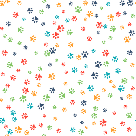 Vector seamless pattern with cat or dog footprints. Can be used for wallpaper, web page background, surface textures. Add your text. Cute colorful paws. Animal concept. Foot steps. Veterinary. Vector